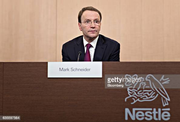 Mark Schneider chief executive officer of Nestle SA looks on during a news conference to announce the company's fullyear results at the Nestle...