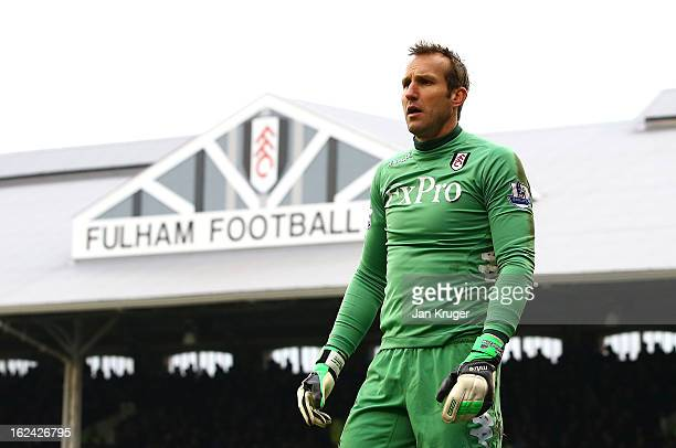Mark Schwarzer Goalkeeper of Fulham looks on during the Barclays Premier League match between Fulham and Stoke City at Craven Cottage on February 23...
