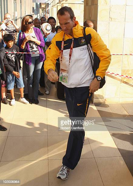 Mark Schwarzer of Australia arrives ahead of Australia's first 2010 World Cup match against Germany during the Socceroos Arrival to Durban on June 12...