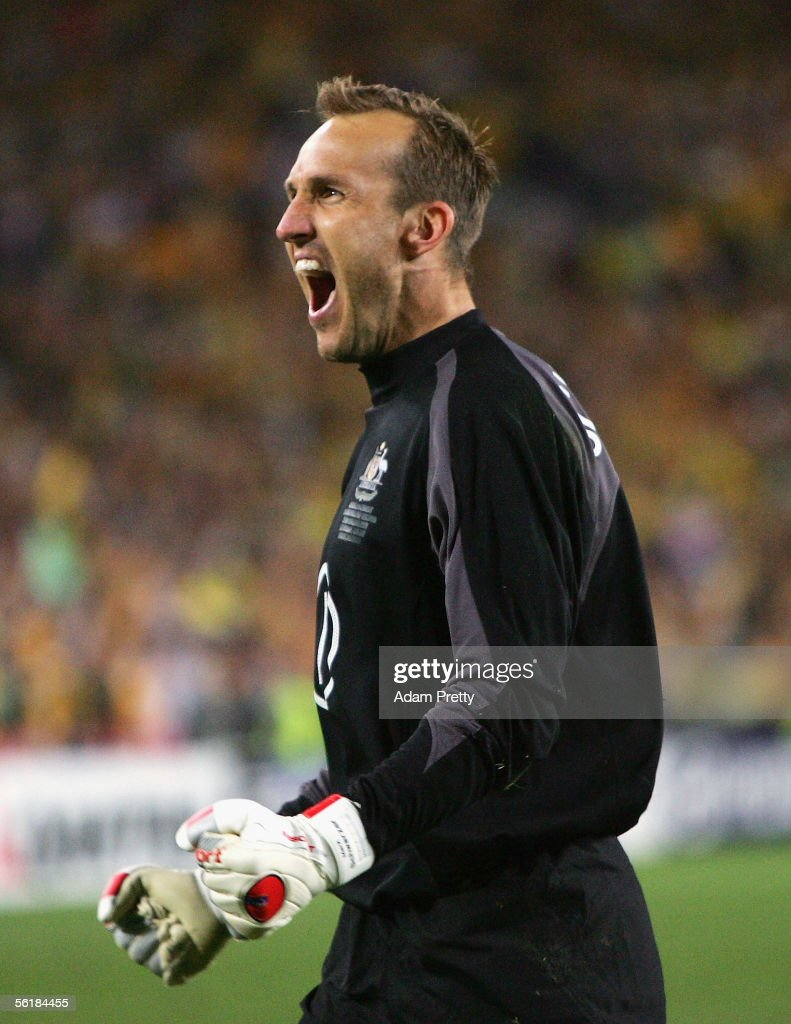 <a gi-track='captionPersonalityLinkClicked' href=/galleries/search?phrase=Mark+Schwarzer&family=editorial&specificpeople=208085 ng-click='$event.stopPropagation()'>Mark Schwarzer</a> of Australia celebrates the winning penalty in the penalty shoot-out during the second leg of the 2006 FIFA World Cup qualifying match between Australia and Uruguay at Telstra Stadium November 16, 2005 in Sydney, Australia.