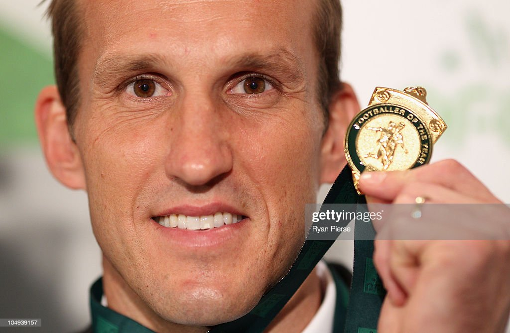 Mark Schwarzer of the Socceroos poses with his Footballer of the Year Award at the Australian Football Awards at Sofitel Hotel on October 7, 2010 in Sydney, Australia.