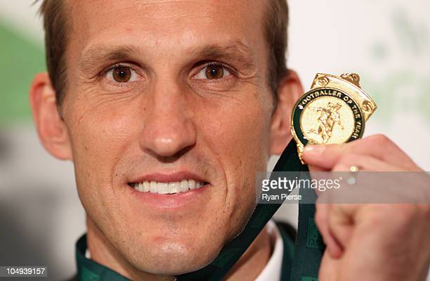 Mark Schwarzer of the Socceroos poses with his Footballer of the Year Award at the Australian Football Awards at Sofitel Hotel on October 7 2010 in...