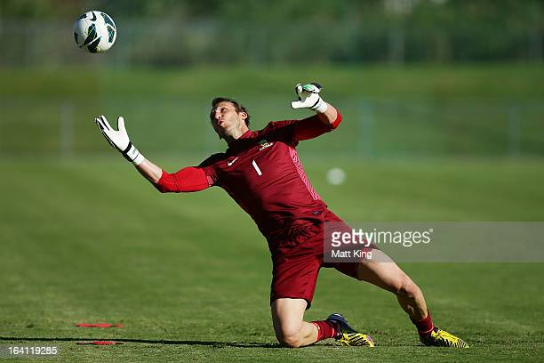 Mark Schwarzer practises goalkeeping during an Australian Socceroos training session at Macquarie Uni on March 20 2013 in Sydney Australia