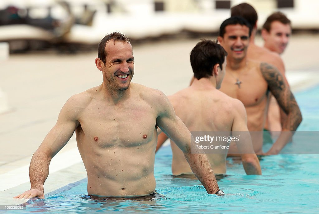 Mark Schwarzer stretches in the pool during an Australian Socceroos recovery session at the Marriott Hotel on January 26, 2011 in Doha, Qatar.