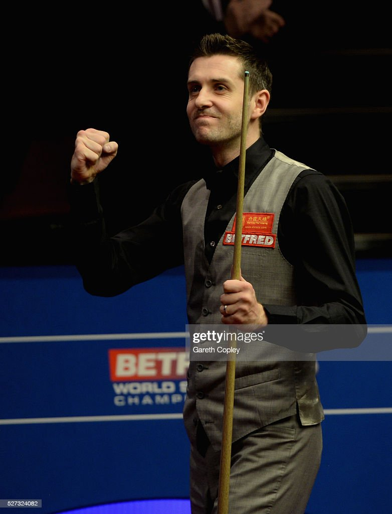 Mark Selby celebrates beating Ding Junhui to win the World Snooker Championship final at the Crucible Theatre on May 02 2016 in Sheffield England