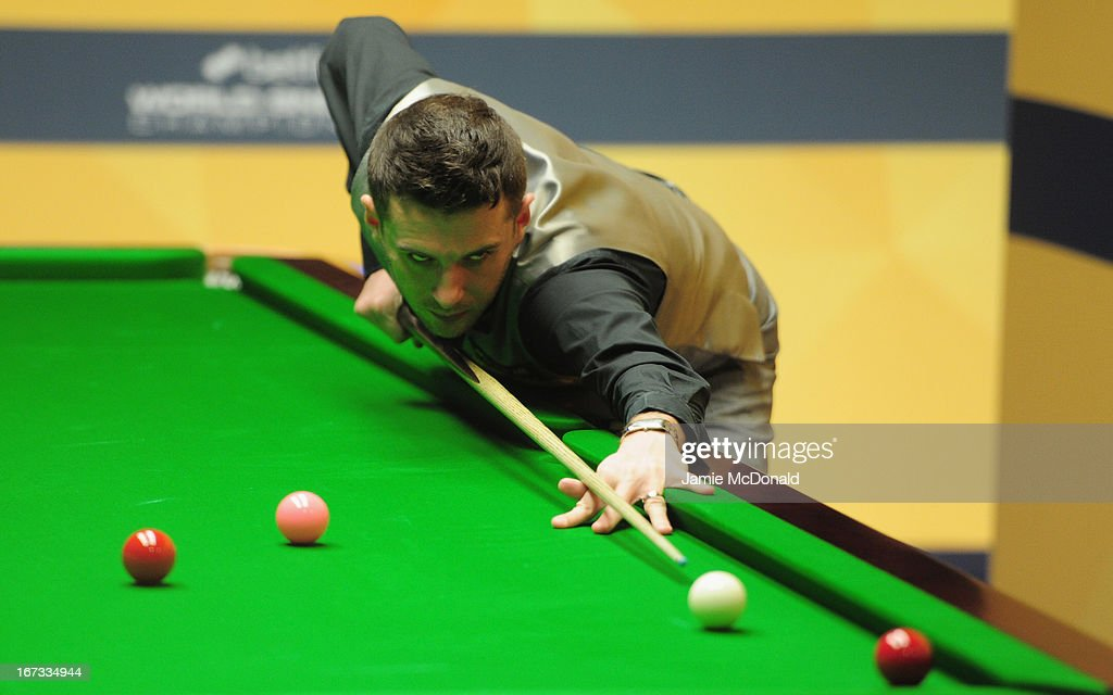 Mark Selby in action during his first round match against Matthew Selt during the Betfair World Snooker Championship at the Crucible Theatre on April...