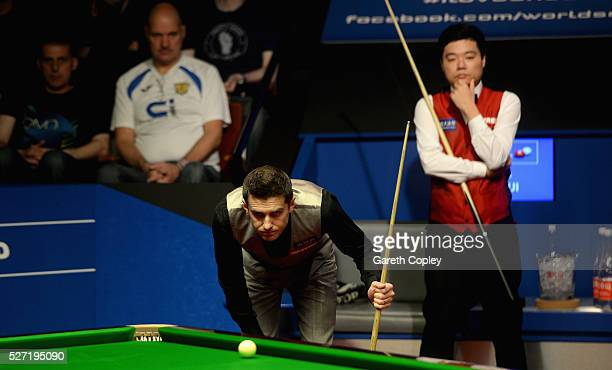 Mark Selby lines up a shot against Ding Junhui during the World Snooker Championship final at the Crucible Theatre on May 02 2016 in Sheffield England