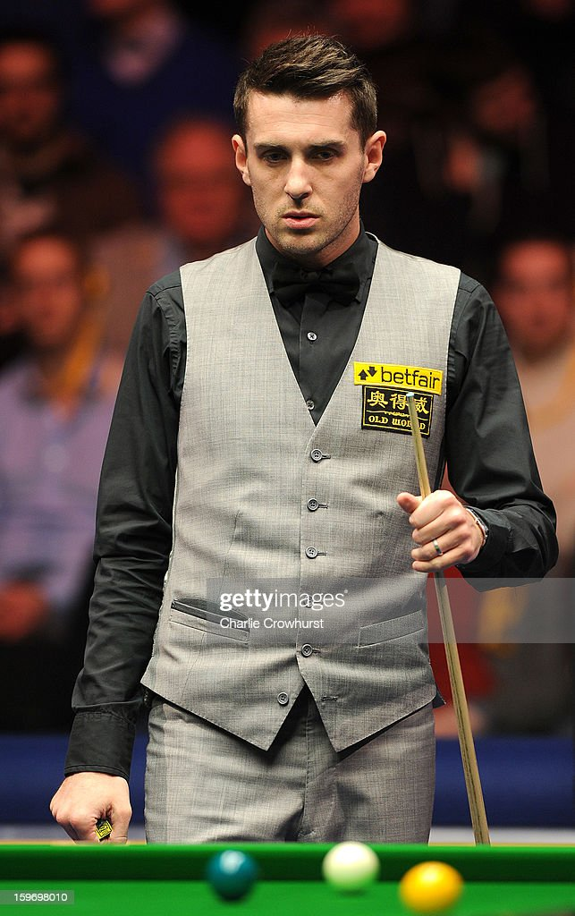 Mark Selby of England has a look at his next shot during his quarter-final match against Mark Williams of Wales at Alexandra Palace on January 18, 2013 in London England.