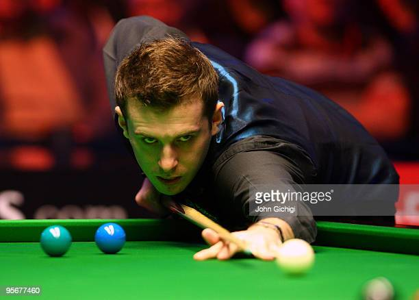 Mark Selby of England in action during his match against Ding Junhui of China during PokerStarscom Masters Snooker tournament at Wembley Arena on...