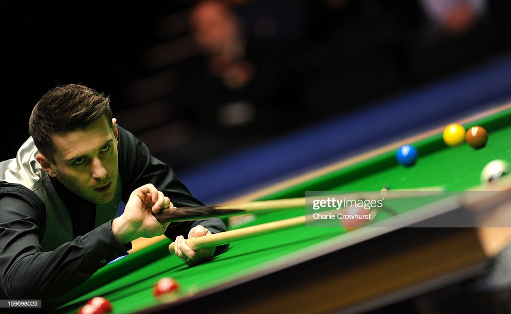 Mark Selby of England in action during his quarter-final match against Mark Williams of Wales at Alexandra Palace on January 18, 2013 in London England.