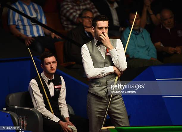 Mark Selby of England in actionlines up a shot during his quarter final match against Kyren Wilson of England on day eleven of the World Championship...