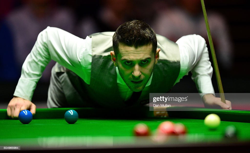 Mark Selby of England lines up a shot during his quarter final match against Ronnie O'Sullivan on England during day five of The Dafabet Masters at...