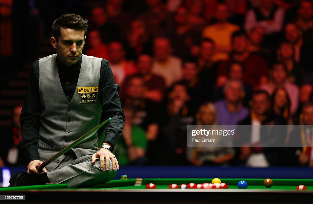 Mark Selby of England lines up a shot during The Masters Final between Mark Selby of England and Neil Robertson of Australia at Alexandra Palace on January 20, 2013 in London, England.