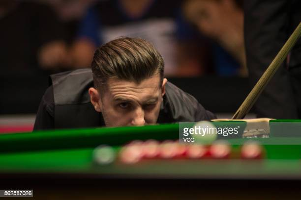 Mark Selby of England reacts during his first round match against Scott Donaldson of Scotland on day two of 2017 Dafabet English Open at Barnsley...