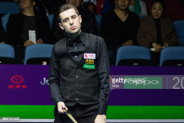 Mark Selby of England reacts during the third round match against Mark Williams of Wales on Day four of the 2017 Snooker International Championship...