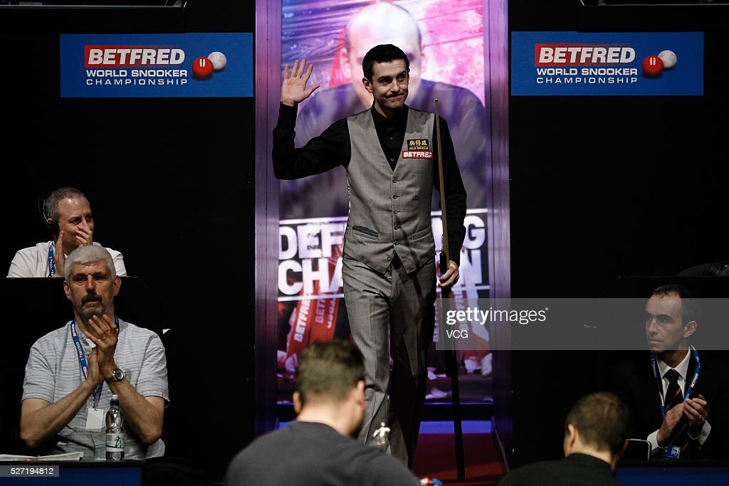 Mark Selby of England reacts in the final match against Ding Junhui of China on day seventeen of Betfred World Championship 2016 at The Crucible Theatre on May 2, 2016 in Sheffield, England.