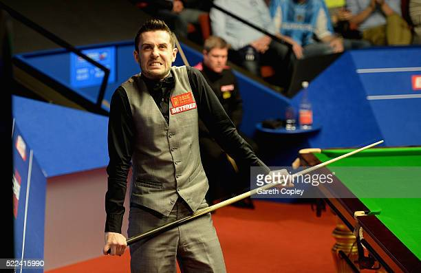 Mark Selby reacts after beating Robert Milkins during their first round match of the World Snooker Championship at Crucible Theatre on April 19 2016...