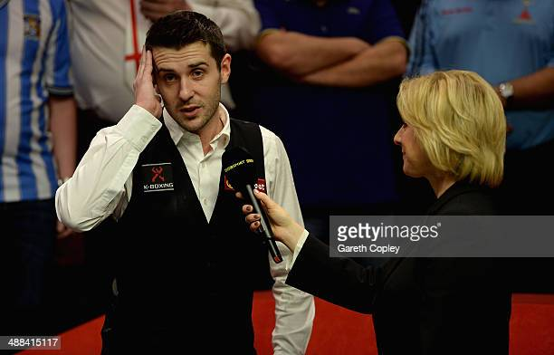 Mark Selby speaks BBC presenter Hazel Irvine after winning The Dafabet World Snooker Championship final at Crucible Theatre on May 5 2014 in...