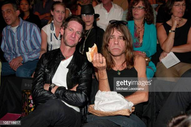 Mark Seliger and David Johansen during Olympus Fashion Week Spring 2006 Anna Sui Front Row and Backstage at Bryant Park in New York City New york...