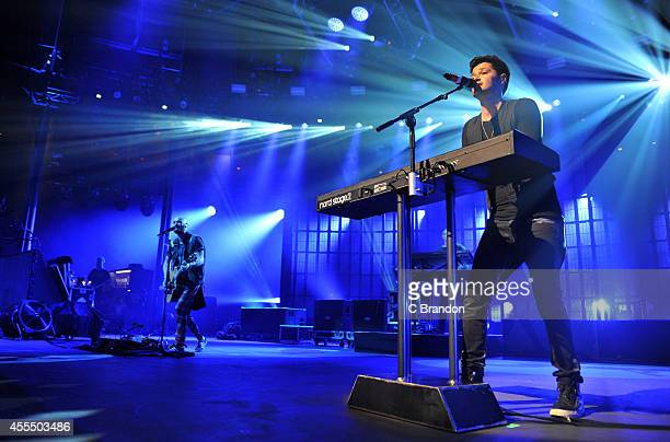 Mark Sheehan and Danny O'Donoghue of The Script perform on stage for the iTunes Festival at The Roundhouse on September 15 2014 in London United...