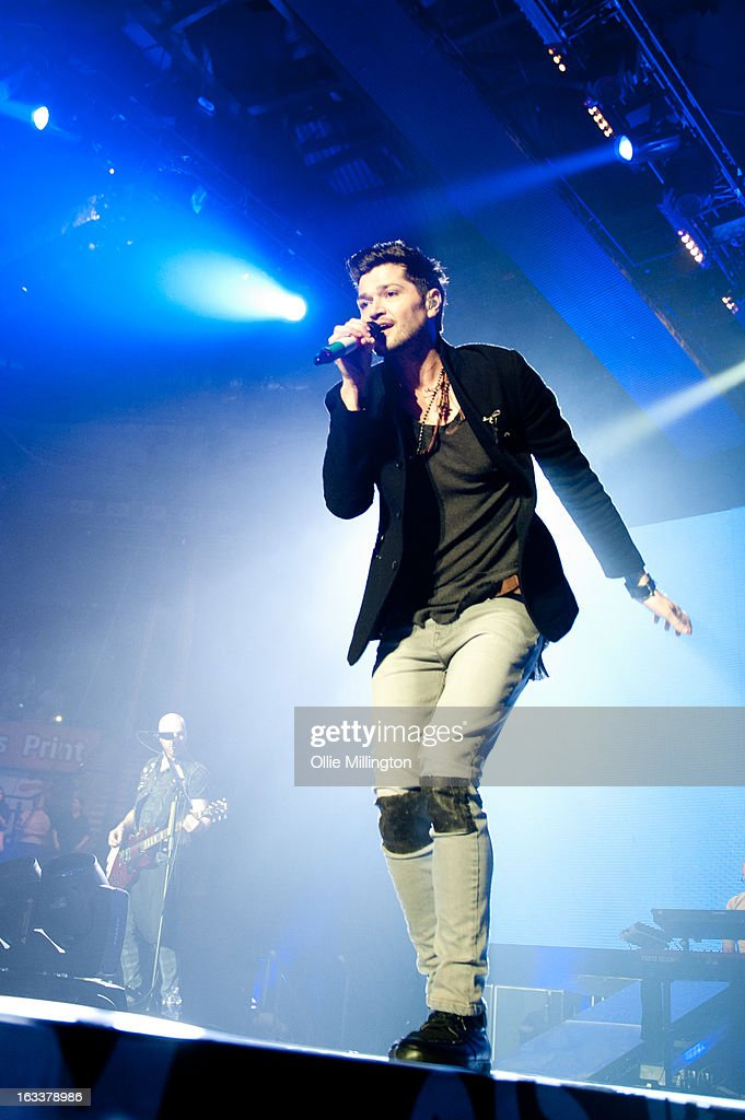 Mark Sheehan and <a gi-track='captionPersonalityLinkClicked' href=/galleries/search?phrase=Danny+O%27Donoghue&family=editorial&specificpeople=5598563 ng-click='$event.stopPropagation()'>Danny O'Donoghue</a> of The Script perform on stage in concert on the opening night of the bands March 2013 UK Tour during the #3 World Tour at Nottingham Capital FM Arena on March 8, 2013 in Nottingham, England.