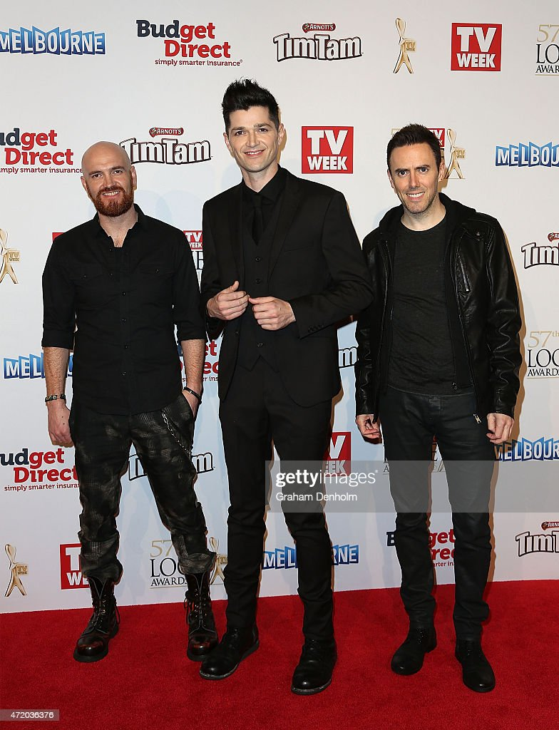 Mark Sheehan, Danny O'Donoghue and Glen Power from The Script arrive at the 57th Annual Logie Awards at Crown Palladium on May 3, 2015 in Melbourne, Australia.