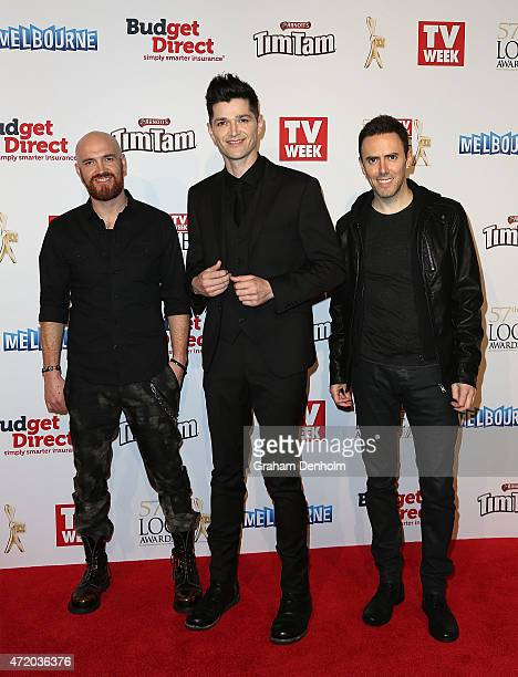 Mark Sheehan Danny O'Donoghue and Glen Power from The Script arrive at the 57th Annual Logie Awards at Crown Palladium on May 3 2015 in Melbourne...