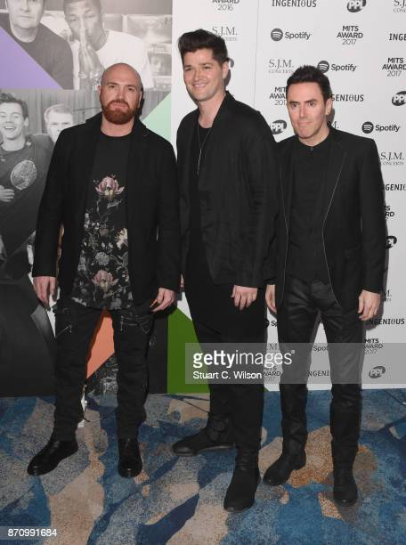 Mark Sheehan Danny O'Donoghue and Glen Power of 'The Script' attend the 26th annual Music Industry Trust Awards held at The Grosvenor House Hotel on...