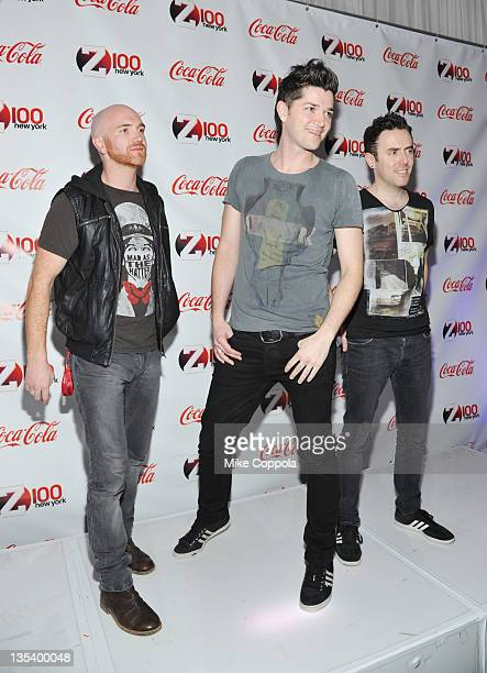 Mark Sheehan Danny O'Donoghue and Glen Power of The Script attend Z100 CocaCola All Access Lounge at Z100's Jingle Ball 2011 preshow at Hammerstein...