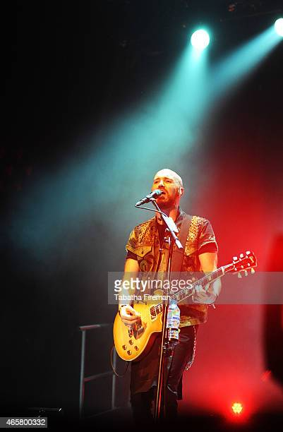 Mark Sheehan of The Script performs on stage at Brighton Centre on March 10 2015 in Brighton United Kingdom