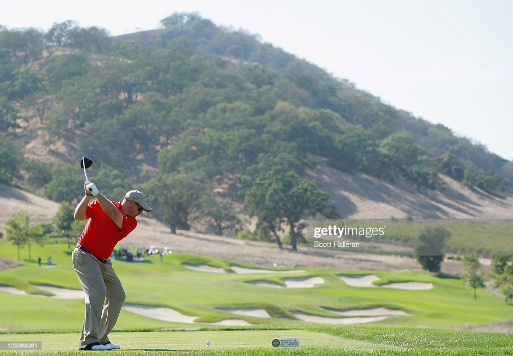 Mark Sheftic of the USA team hits a shot during the Afternoon Foursomes Matches at the 25th PGA Cup at the CordeValle Golf Club on September 16, 2011 in San Martin, California.