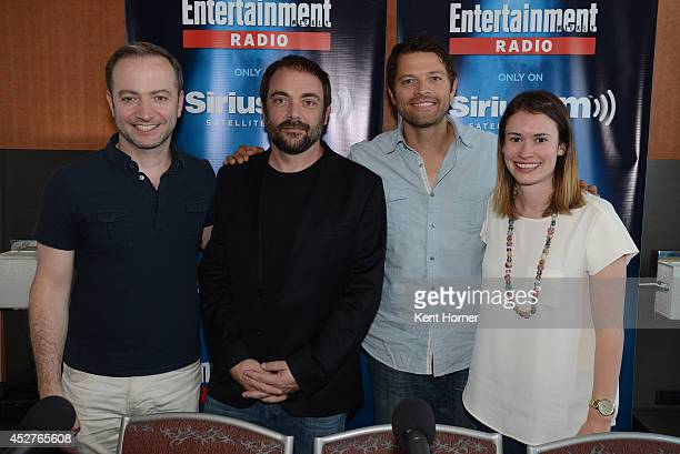 Mark Sheppard and Misha Collins pose with radio hosts Mario Correa and Julia Cunningham after being interviewed on SiriusXM's Entertainment Weekly...