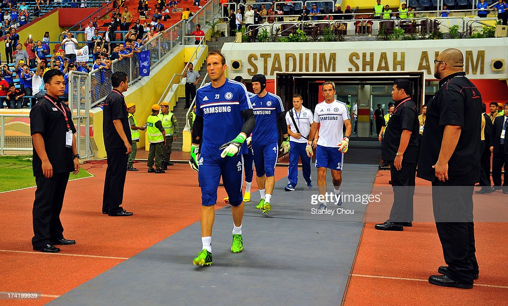 Mark Shwarzer of Chelsea enters the field to warm up prior to the match between Chelsea and Malaysia XI on July 21, 2013 at the Shah Alam Stadium in Shah Alam, Kuala Lumpur, Malaysia.