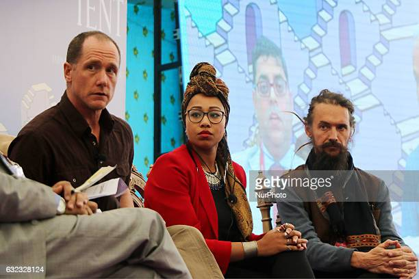 Mark Singleton Yassmin AbdelMagied and Jim Mallinson speaks during the Jaipur Literature Festival at Diggi Palace in Jaipur Rajasthan India on 21st...