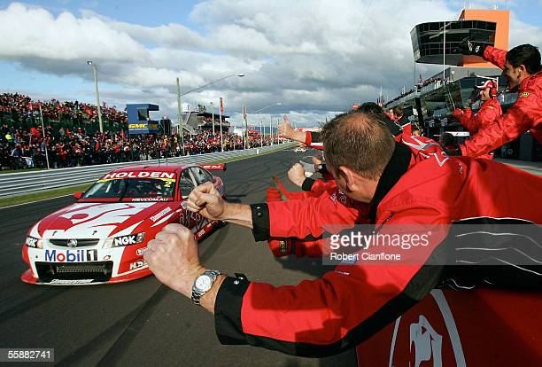 Mark Skaife of the Holden Racing Team wins the Bathurst 1000 which is round ten of the 2005 V8 Supercar Championship Series at Mount Panorama on...