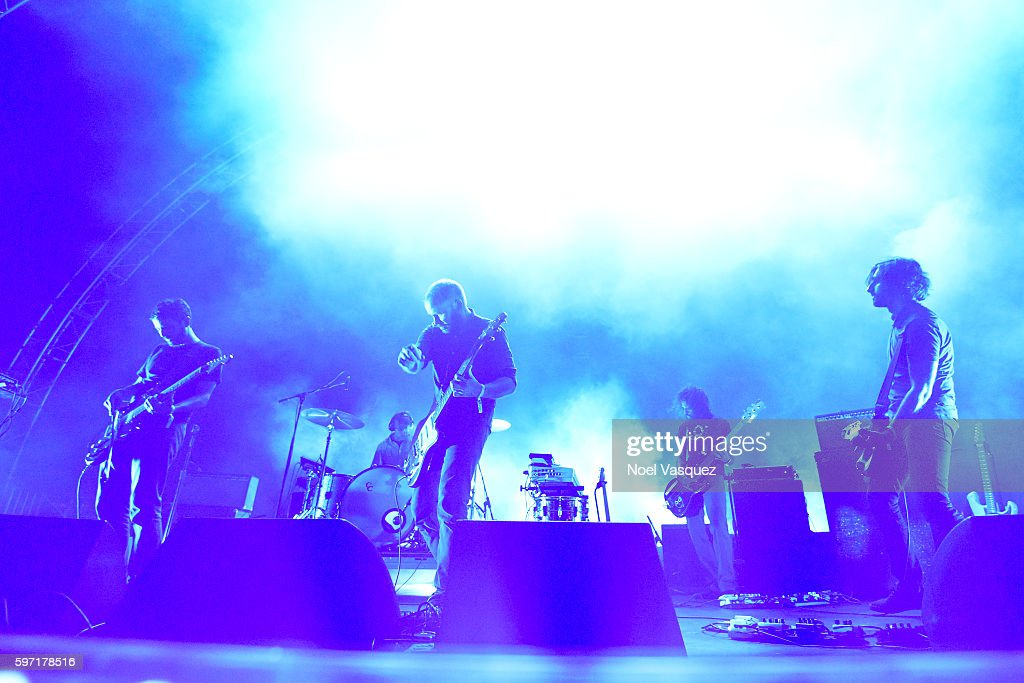 Mark Smith Michael James Christopher Hrasky and Munaf Rayani of Explosions in the Sky perform at FYF Fest 2016 Day 1 at the Los Angeles Sports Arena...