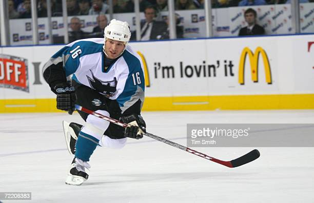 Mark Smith of the San Jose Sharks skates against the Edmonton Oilers during the NHL game at Rexall Place on October 12 2006 in Edmonton Alberta...