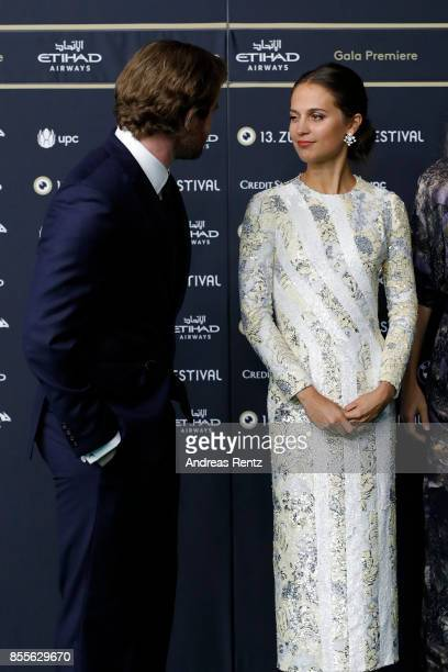 Mark Stanley and Alicia Vikander attend the 'Euphoria' premiere during the 13th Zurich Film Festival on September 29 2017 in Zurich Switzerland The...