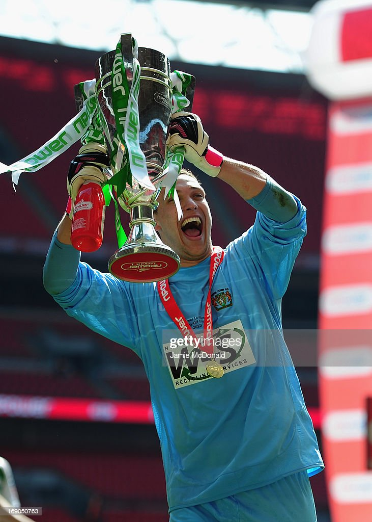 Mark Stech of Yeovil Town celebrates promotion during the npower League One play off final between Brentford and Yeovil Town at Wembley Stadium on May 19, 2013 in London, England.