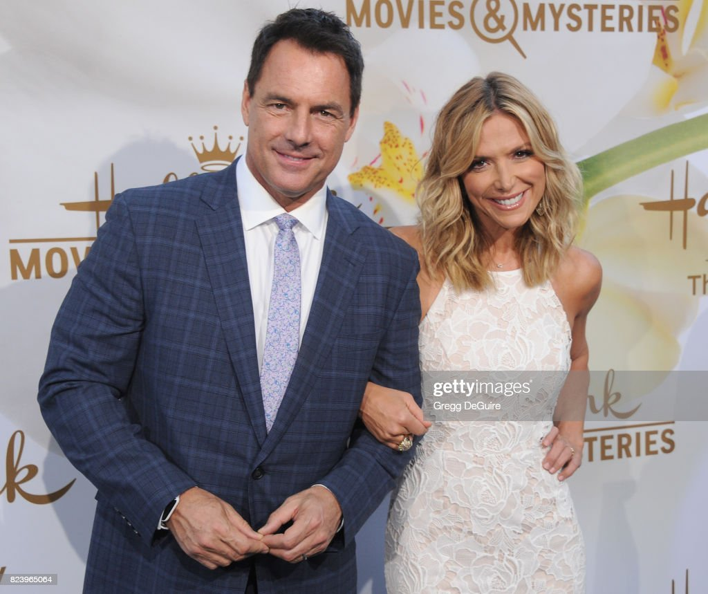 Mark Steines and Debbie Matenopoulos arrive at the 2017 Summer TCA Tour - Hallmark Channel And Hallmark Movies And Mysteries at a private residence on July 27, 2017 in Beverly Hills, California.