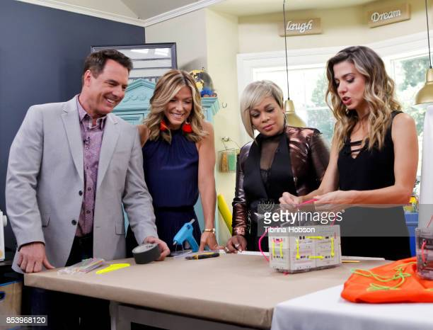 Mark Steines Debbie Matenopoulos TBoz and Orly Shani talk on the set of Hallmark's 'Home and Family' at Universal Studios Hollywood on September 25...
