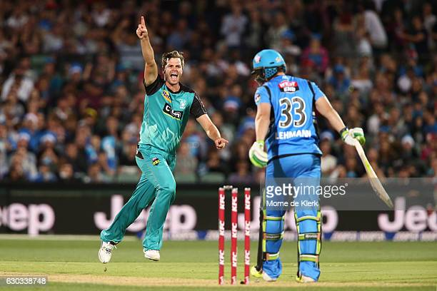 Mark Steketee of the Brisbane Heat celebrates after getting the wicket of Jake Lehmann of the Adelaide Strikers during the Big Bash League match...