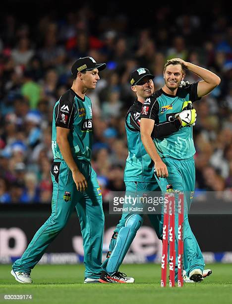 Mark Steketee of the Brisbane Heat reacts after bowling out Jake Lehmann of the Adelaide Strikers during the Big Bash League match between the...
