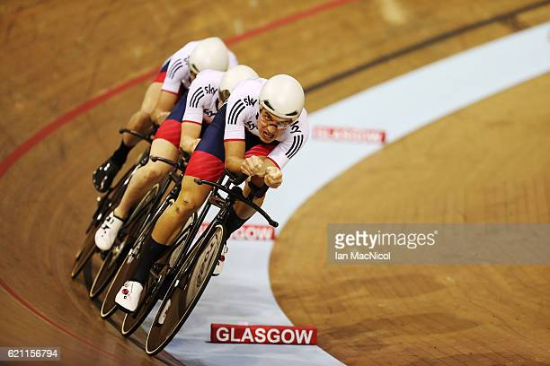 Mark Stewart Kian EmadiVoffin Andrew Tennant and Oliver Wood of Great Britain win the Men's Team Pursuit at the Sir Chris Hoy Velodrome on November 4...