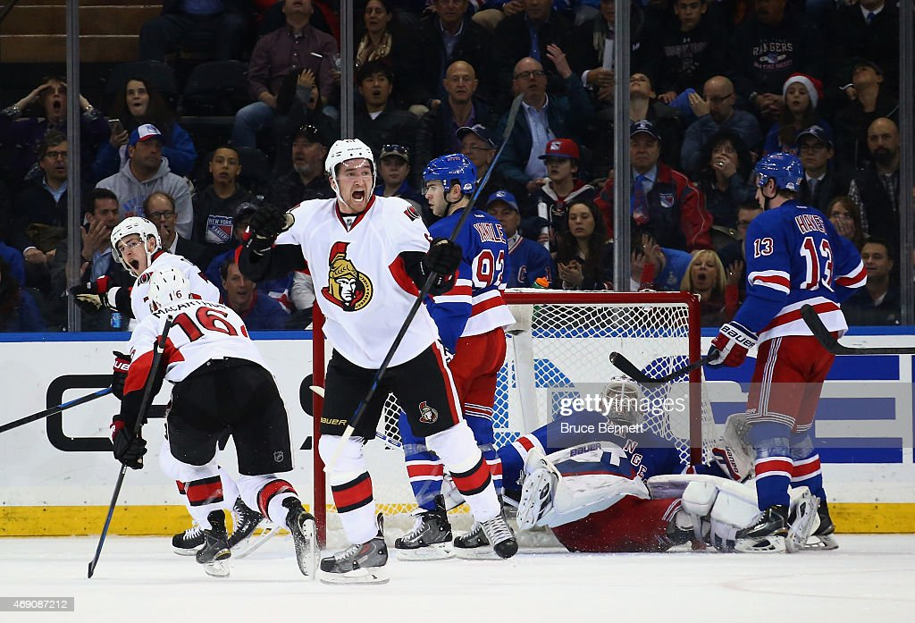 Mark Stone of the Ottawa Senators celebartes a goal by Kyle Turris at 1835 of the second period against the New York Rangers at Madison Square Garden...