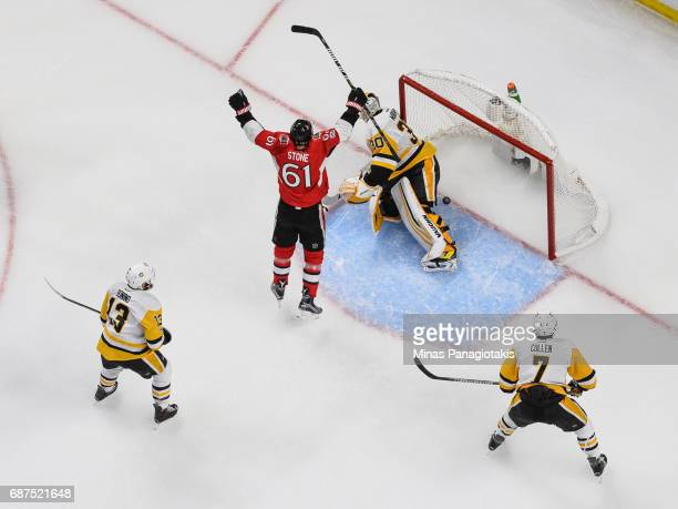 Mark Stone of the Ottawa Senators celebrates near goaltender Matt Murray of the Pittsburgh Penguins in Game Six of the Eastern Conference Final...