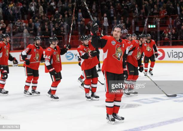 Mark Stone of the Ottawa Senators raises his stick to salute the fans after a win against the Colorado Avalanche at Ericsson Globe on November 11...