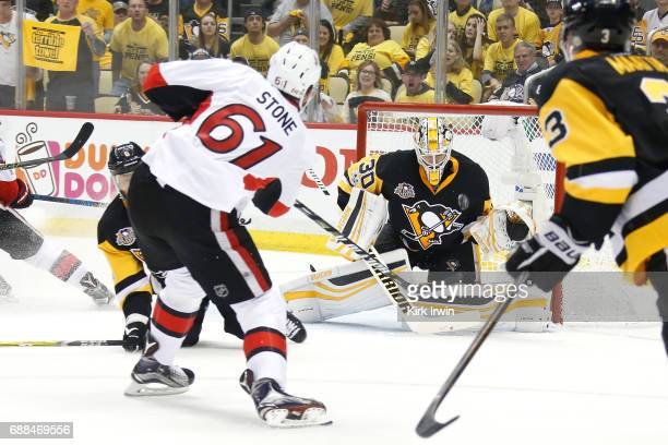 Mark Stone of the Ottawa Senators scores a goal against Matt Murray of the Pittsburgh Penguins during the second period in Game Seven of the Eastern...