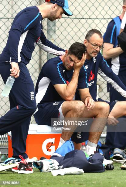 Mark Stoneman and Alastair Cook of England look on during an England nets session at The Gabba on November 21 2017 in Brisbane Australia