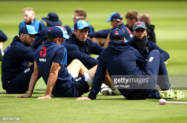 Mark Stoneman and Tom Westley and Moeen Ali listens to Joe Root during a net session at Edgbaston on August 15 2017 in Birmingham England